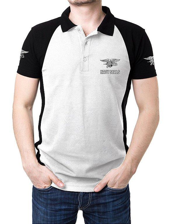Camisa Gola Polo Navy Seals - Branco e Preto