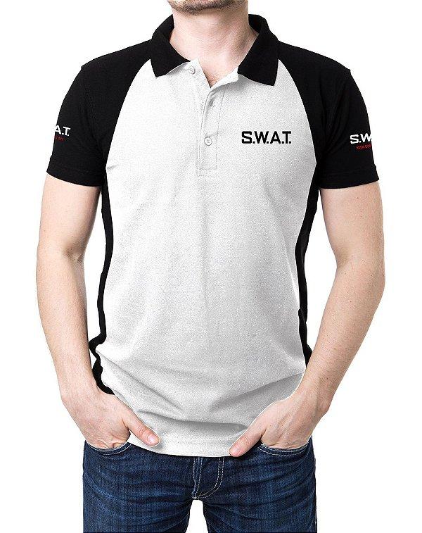 Camisa Gola Polo Swat - Branco e Preto
