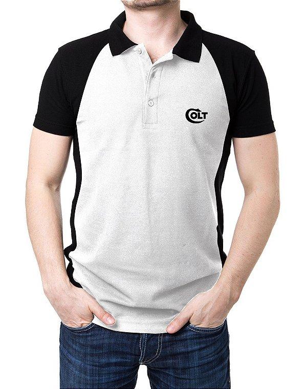 Camisa Gola Polo Colt - Branco e Preto