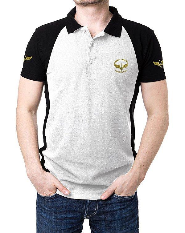 Camisa Gola Polo Força Aérea Brasileira FAB - Branco e Preto