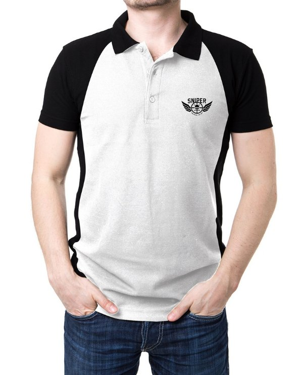 Camisa Gola Polo Sniper - Preto e Branco