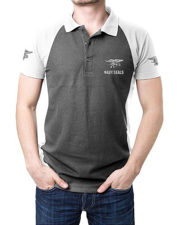 Camisa Gola Polo Navy Seals - Cinza e Branco