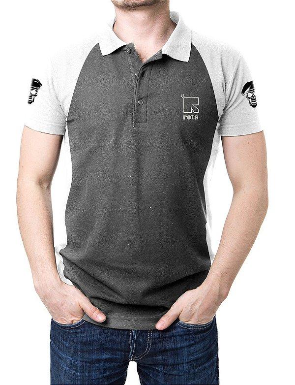 Camisa Gola Polo Rota - Cinza e Branco