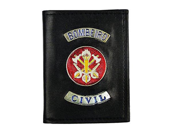 Carteira com Brasão Bombeiro Civil Preta (5 Unidades)