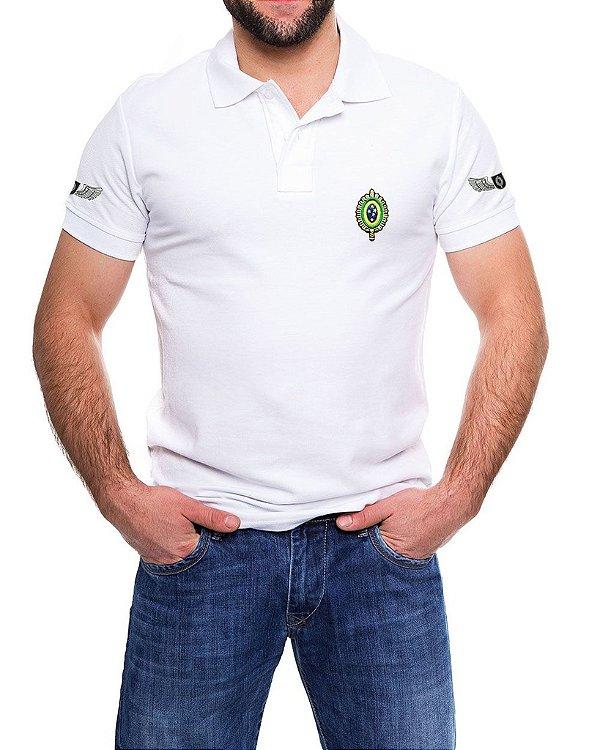 Camisa Gola Polo Branca Exército Brasileiro - 4 Bordados