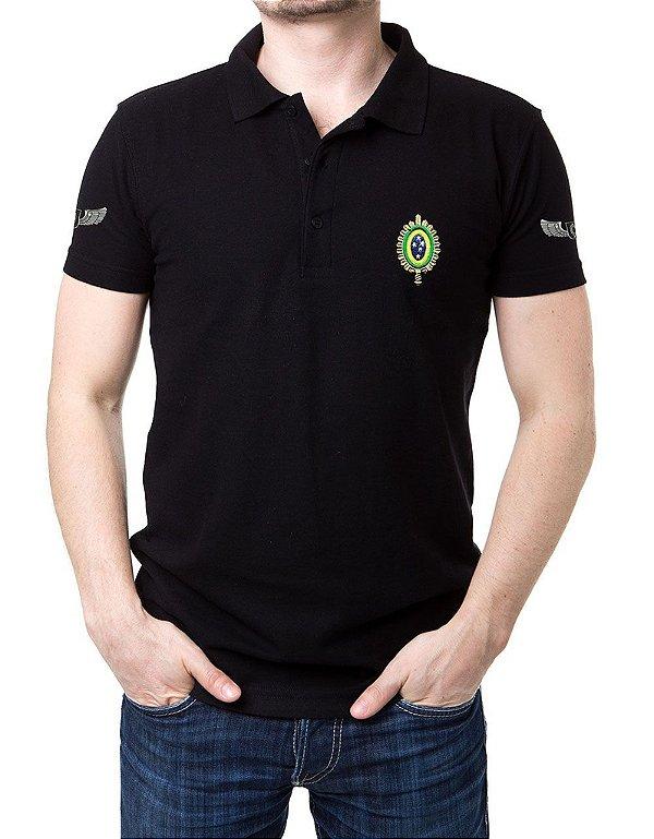 Camisa Gola Polo Preta Exército Brasileiro - 4 Bordados