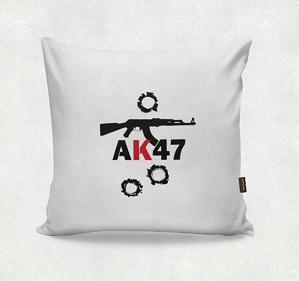 Almofada Bordada - AK47 Branca