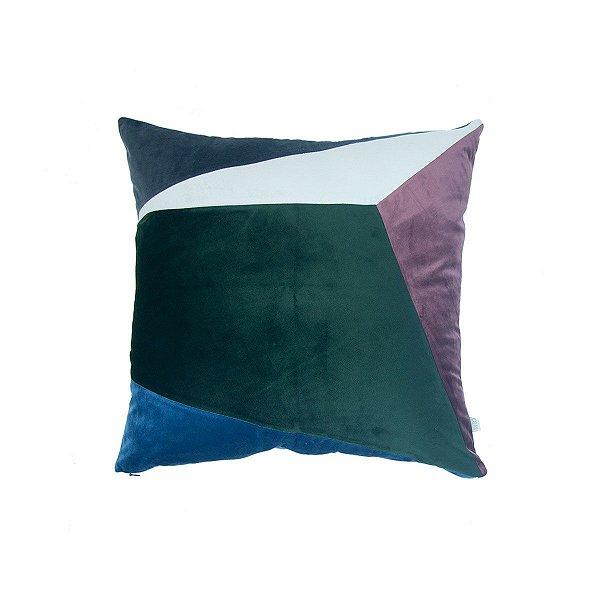 Almofada Geométrica Verde, Azul e cinza