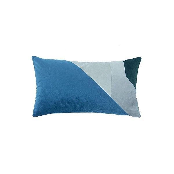 Almofada Rim Veludo Geométrica Azul, crus e verde