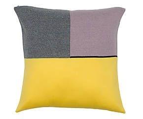 Almofada Quadrados Amarelo e Lilás