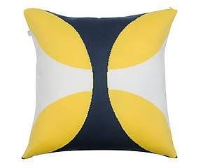 Almofada Borboleta Amarelo E Azul Marinho