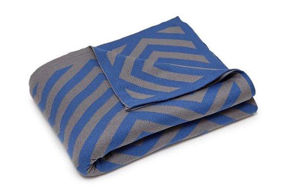 Manta Zigzag Cinza e Azul