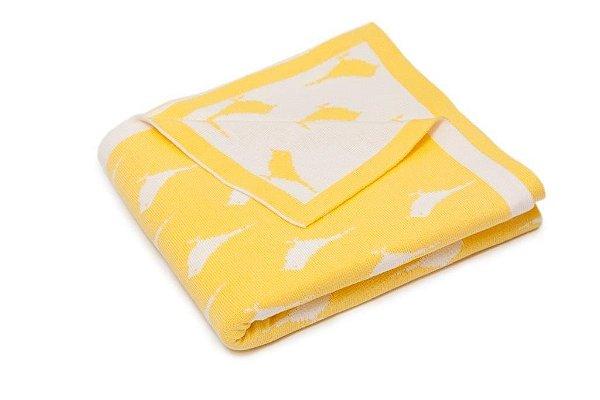 Manta Baby Passarinho Branco e Amarelo