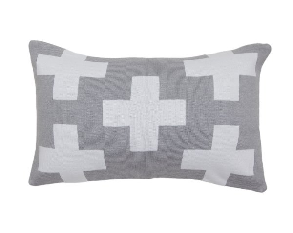 Almofada Rim Maxi Cruz Cinza e Branco