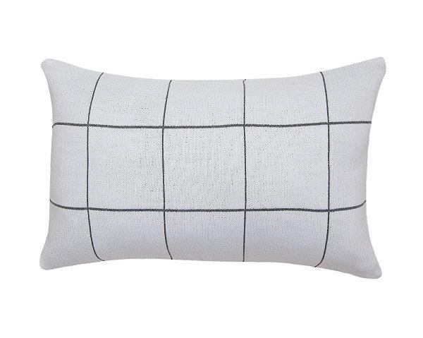 Almofada Rim Quadriculado Branco e Cinza