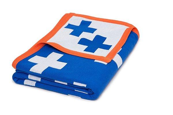 Manta Maxi Cruz Azul e Branco borda Laranja