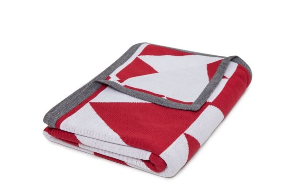 Manta Piramide Vermelho e Branco borda Cinza