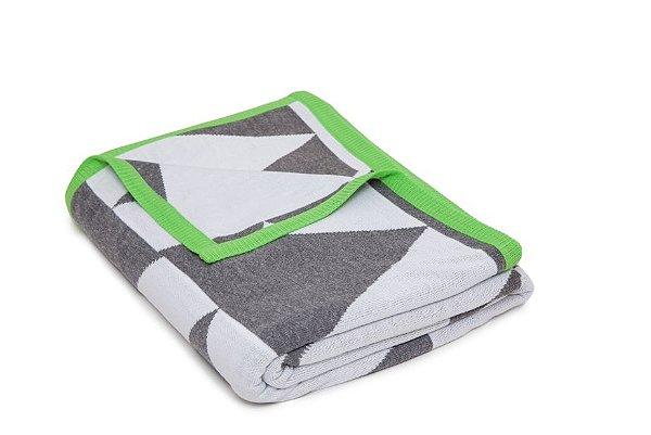 Manta Piramide Cinza e Branco borda Verde