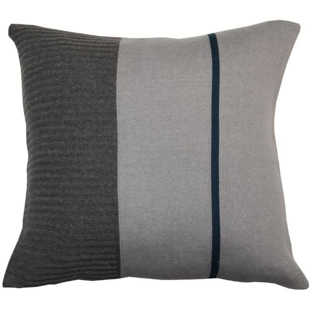Almofada Lateral Canelada Cinza e Azul