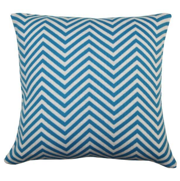 Almofada Zigzag Branco e Azul