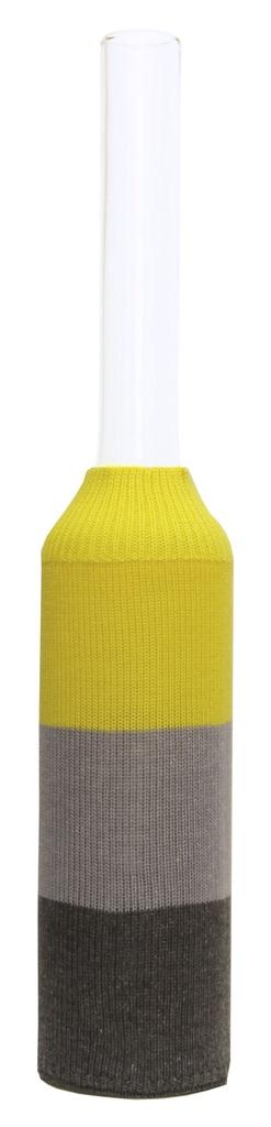 Garrafa Alta Listras Amarelo e Cinza