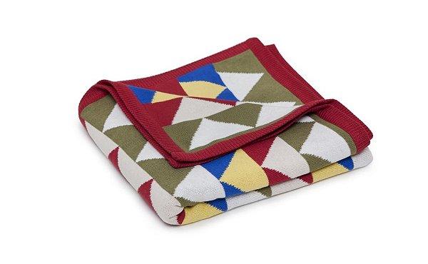 Manta Baby Triangulo Colorido borda Vermelho