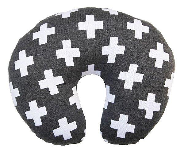 Almofada de Amamentação Cruz Cinza e Branco