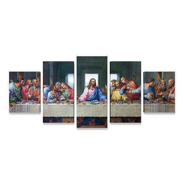 Quadro A Santa Ceia Leonardo Da Vinci Mosaico 5 Telas Tecido Canvas