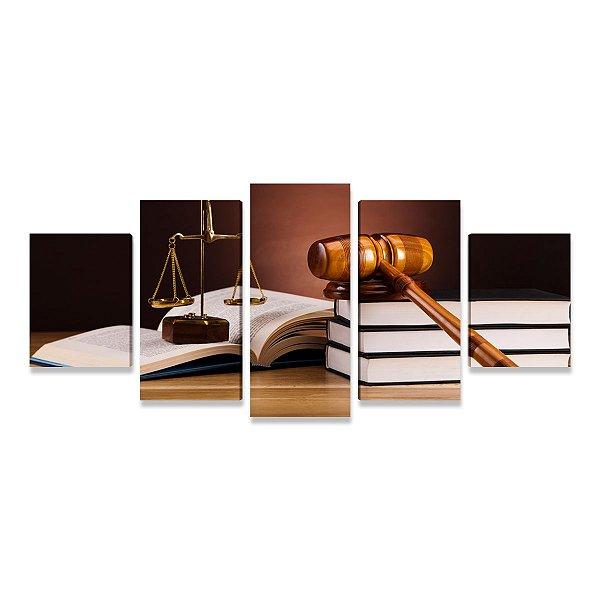 Quadro Escritório Advocacia Direito Advogado Malhete Tribunal 5 peças