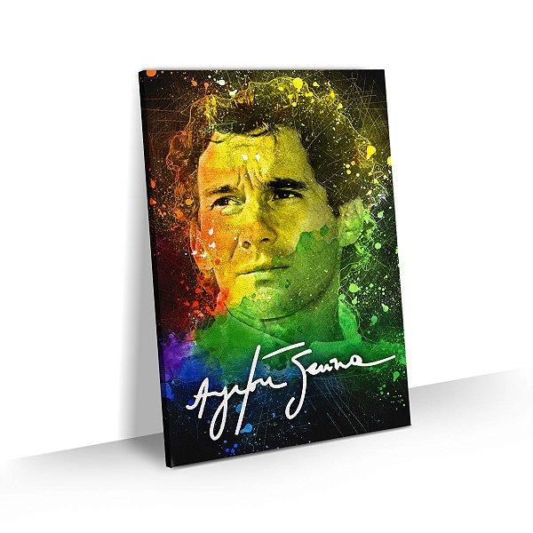 Quadro Ayrton Senna Splash Art Colorido
