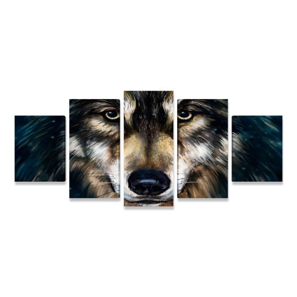 Quadro Lobo Ilustração Realista Mosaico 5 Telas