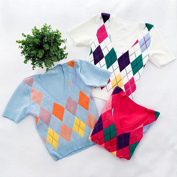 Blusas Em Modal Losango Coloridas