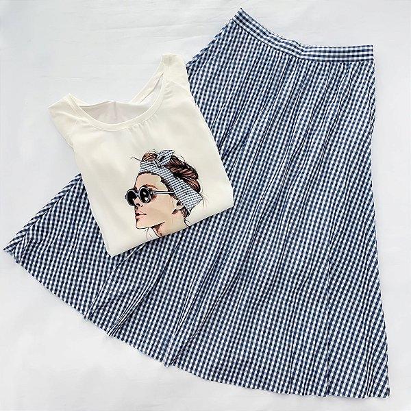 Conjunto Saia E Blusa Quadriculada Azul