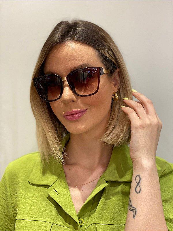 Óculos De Sol Quadrado Marrom Classic