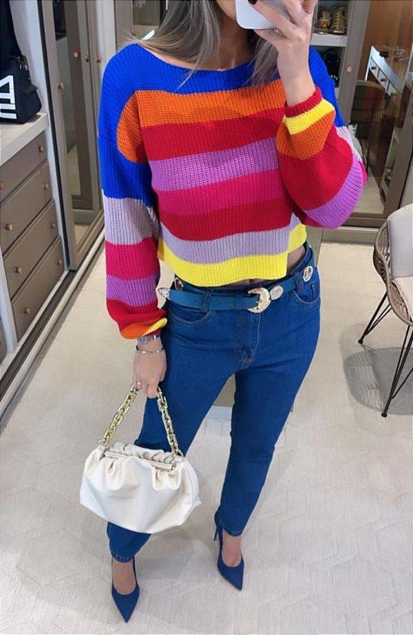 Blusa Em Tricot Colorida Vanessa