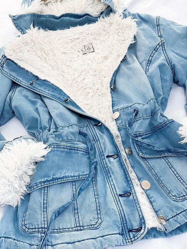 Jaqueta Jeans Forrada Com Capuz Rayssa
