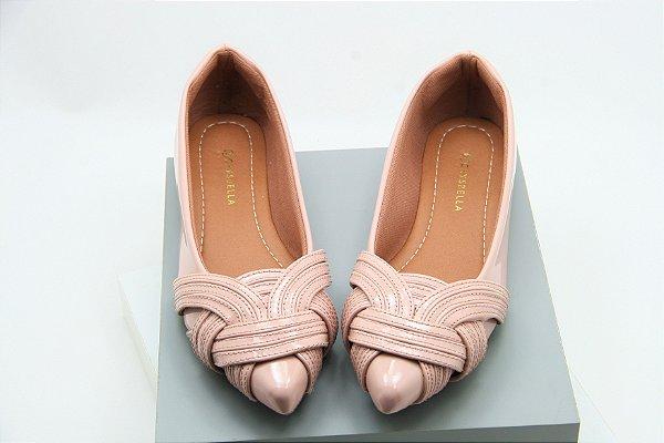 sapatilha laço costuras rosa