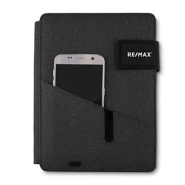 Caderno com powerbank cinza 23x17x3cm RE/MAX- cad220