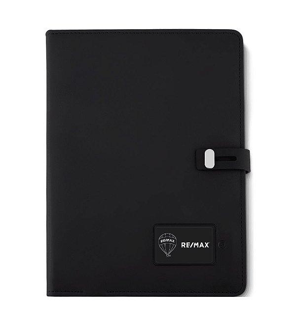 Caderno de anotações emborrachado com powerbank e led 23x17x3cm - CAD230
