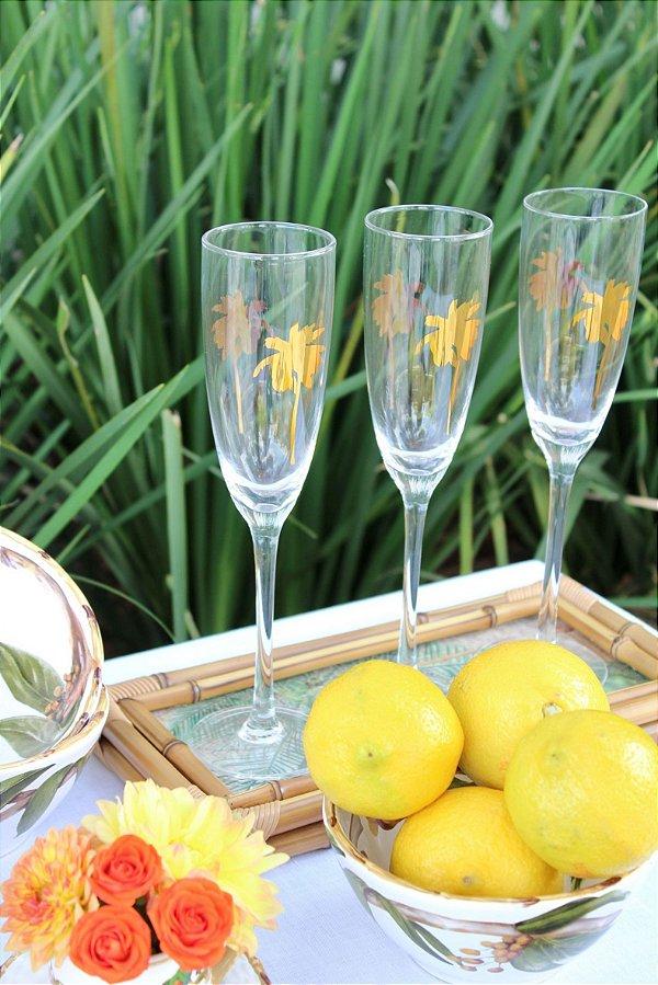 Set Taça Champagne Palm