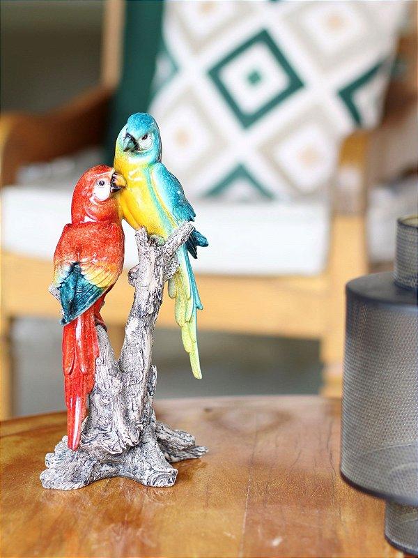 Escultura Dupla de Pássaros Parrot