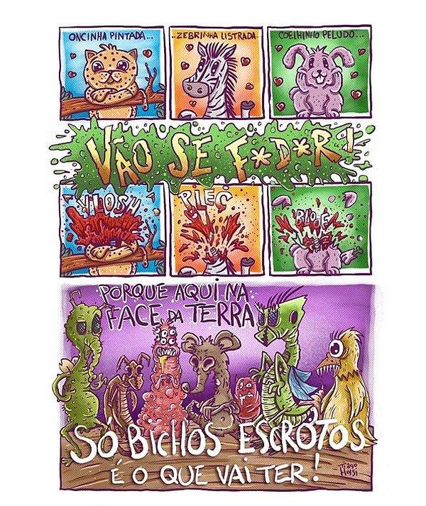 Print - Bichos escrotos - NÃO ACOMPANHA MOLDURA