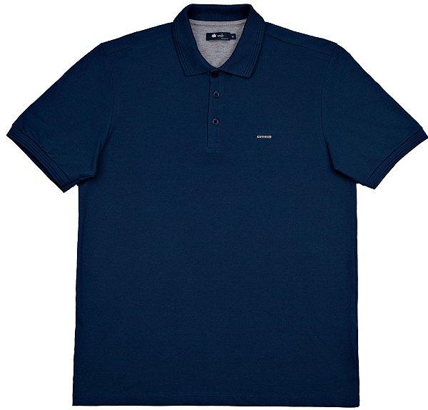 Polo masculina básica em piquet azul marinho