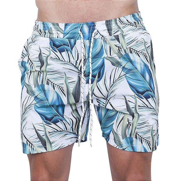 Shorts Tactel Masculino Branco Folhas Verdes e Azul