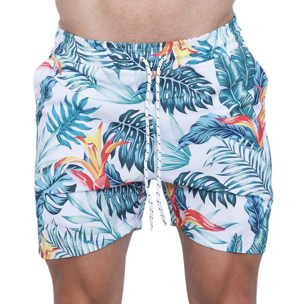 Shorts Tactel Masculino Branco Bromélia Laranja