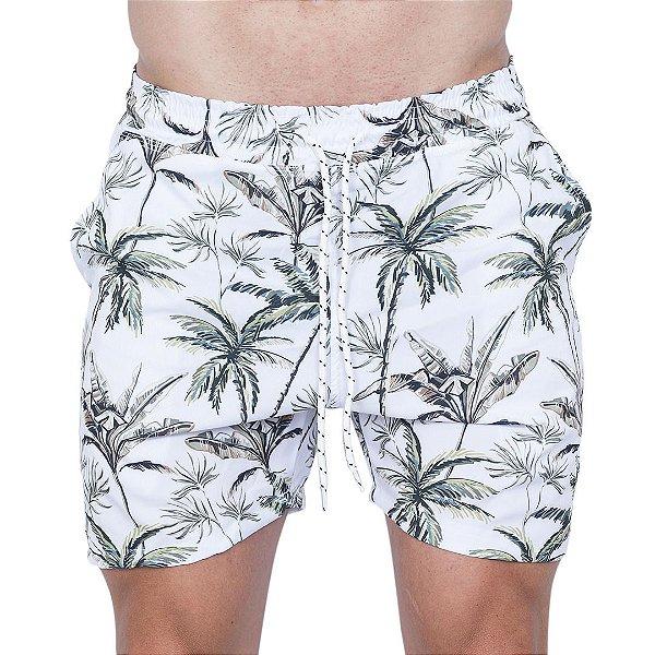 Shorts Tactel Masculino Branco Palmeira