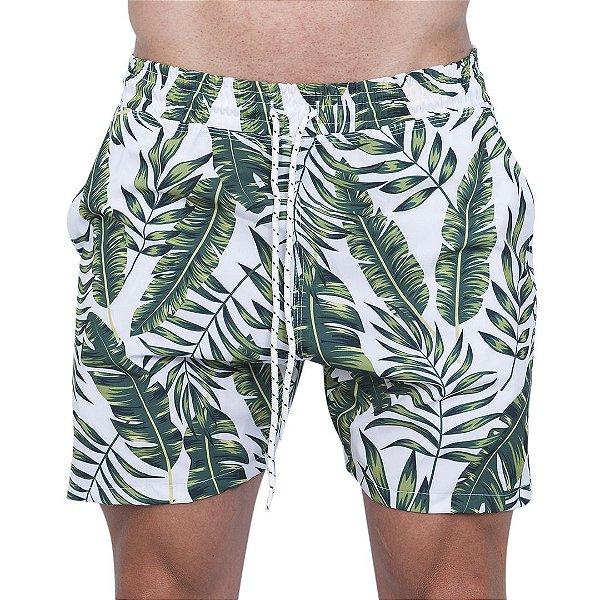 Shorts Tactel Masculino Branco Folhas Verdes