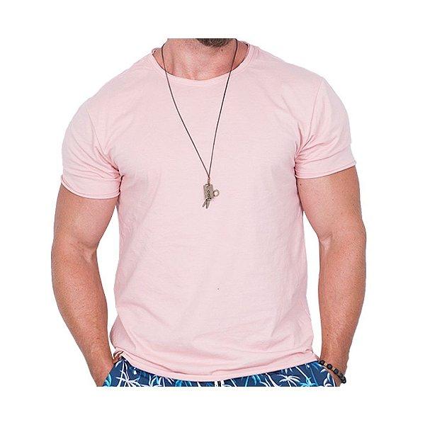 Camiseta Básica Masculina Rosa Claro