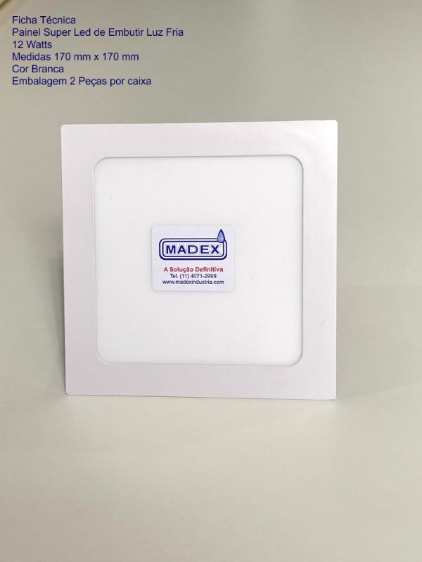 Painel Super Led de Embutir Luz Fria 12 Watts ( Quadrada )