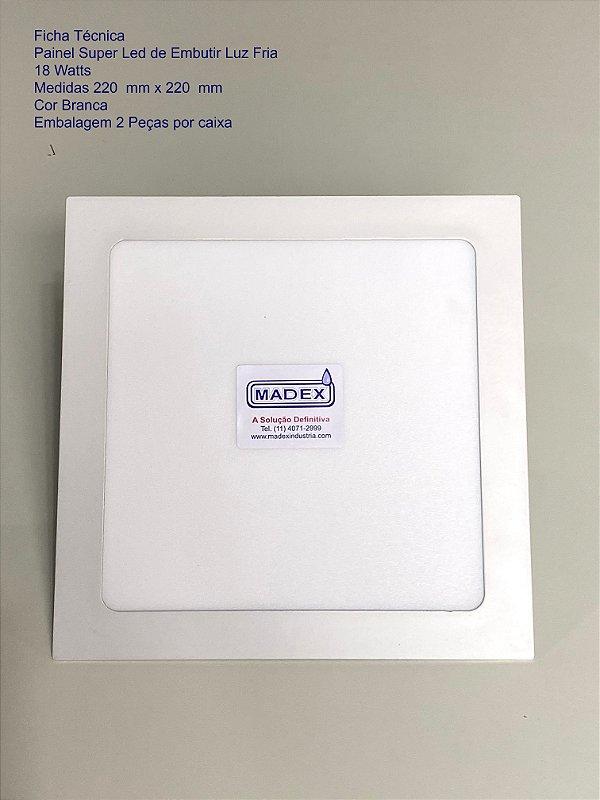 Painel Super Led de Embutir Luz Fria 18 Watts ( Quadrada )